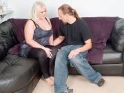 Stranger pounds a BBW blonde