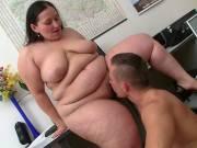 Hard cock fucks fat slut in the office